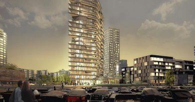 """In Amsterdam soll binnen sieben Monaten der Rohbau des 73 Meter hohen Wohngebäudes """"HAUT"""" entstehen. Die Verwendung von Holz macht es zu einem ökologisch wertvollen und ästhetisch ansprechenden Projekt. Foto: Zwartlicht"""