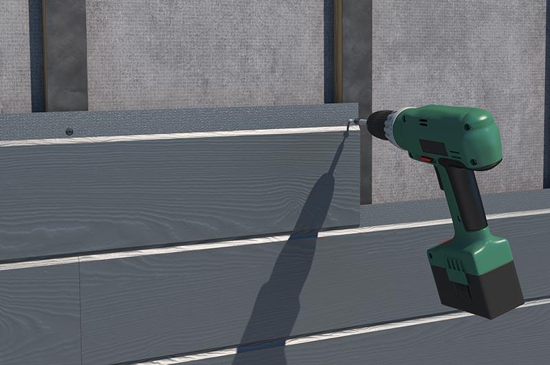 Die witterungsbeständigen Paneele aus Faserzement sind mit einem Stufenfalz ausgerüstet und können dank der neuen VL-Technologie mit Nut- und Federsystem unsichtbar – ohne Vorbohren - mit Schrauben direkt auf der Unterkonstruktion befestigt werden. Bildnachweis: James Hardie Europe GmbH