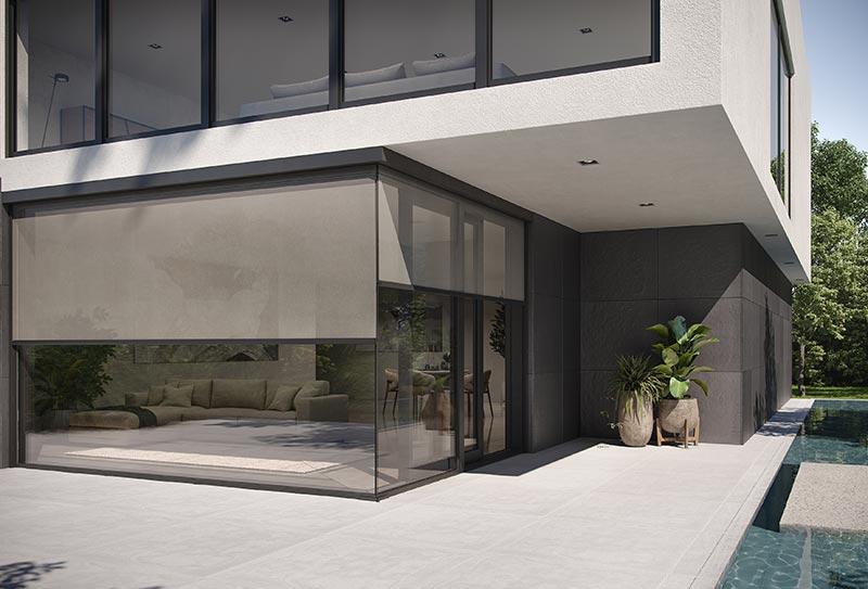 Funktion und Ästhetik kombiniert: Die Konstruktion der heroal VS Z Ecklösung und die vielfältigen Gestaltungsmöglichkeiten sorgen für einen effizienten Blend-, Sicht- und Hitzeschutz, der optisch an die Gebäudehülle angepasst werden kann. Bildquelle: heroal