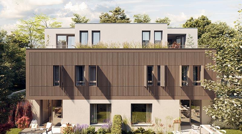 Die mittleren Hausreihen kombinieren WDVS KEIM AquaRoyal mit EPS und Mineralwolledämmung, bekleidete Putzflächen und eine etwas dunkler beschichtete Holzfassade. Bildquelle: Bauwerk