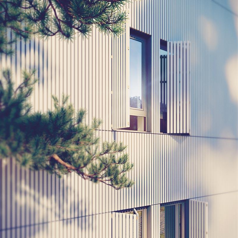 Die Klappläden der Fenster schließen im geschlossenen Zustand bündig mit der Fassade ab. Bildquelle: Bauwerk